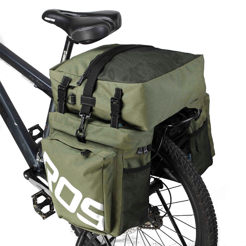ROSWHEEL 3 In 1 Bicycle 37L Road Bike MTB Rear Rack Bag New Bicycle Luggage Carrier Bag Army Green Bike Pannier With Rain Cover new 37l bike bags mountain mtb bike rack bag 3 in 1 multifunction road bicycle pannier rear seat trunk bag bicycle accessories