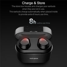 Bluetooth Touch Control Hifi Earphone with Mic, ROCKSPACE EB30 TWS Wireless Earbuds Stereo Microphone for Phone With Charger Box