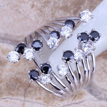 White Topaz Black Sapphire 925 Sterling Silver High-quality Ring For Girls Measurement 5 / 6 / 7 / eight / 9 / 10 / 11 / 12 Free Present Bag S0227