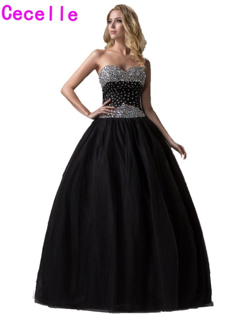 Black Ball Gown Princess Long Prom Dresses 2017 Strapless Beaded ...
