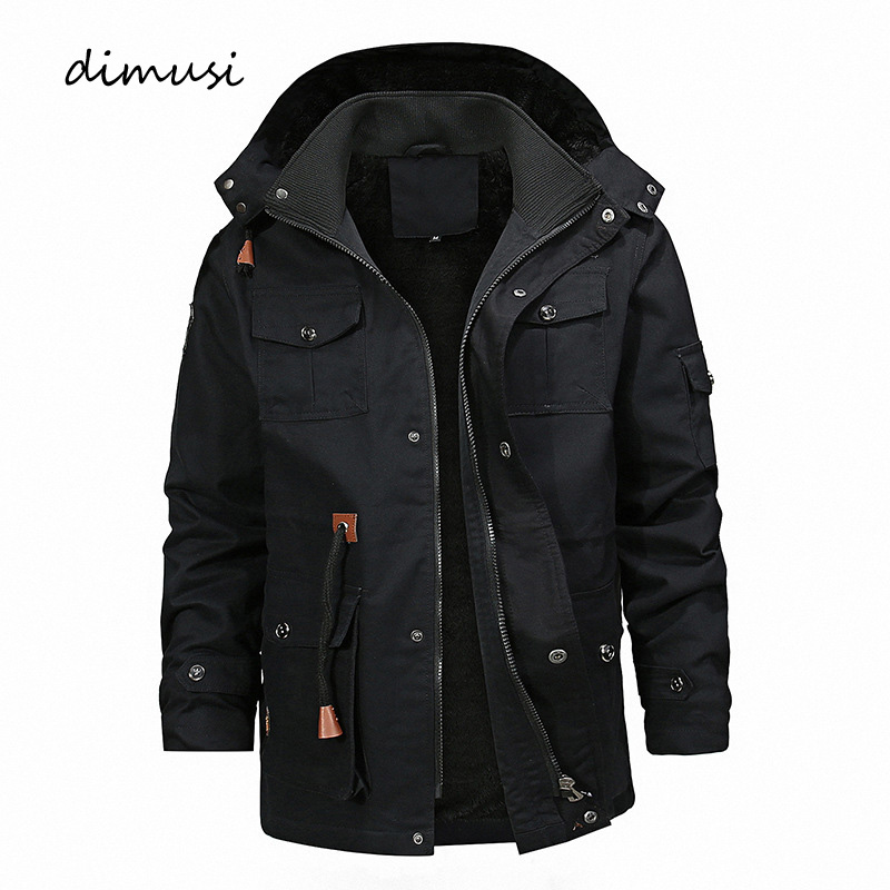 DIMUSI Winter Men's Fleece Warm Jackets Men Thermal Thick Hooded Coats Outerwear Male Army Military Jackets Mens Brand Clothing