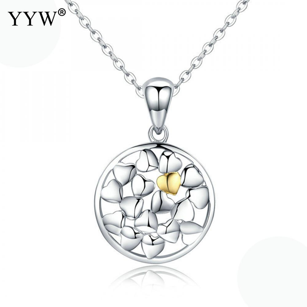 Charm Heart Lover Two Tone Pendant Necklace Flat Round 925 Sterling Silver Oval Chain 18 Inch