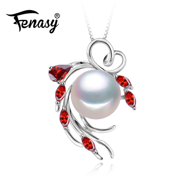 Fenasy 925 sterling silver pendants natural pearl necklace ruby fenasy 925 sterling silver pendants natural pearl necklace ruby beryl jewelry pearl accessories necklaces women aloadofball Image collections