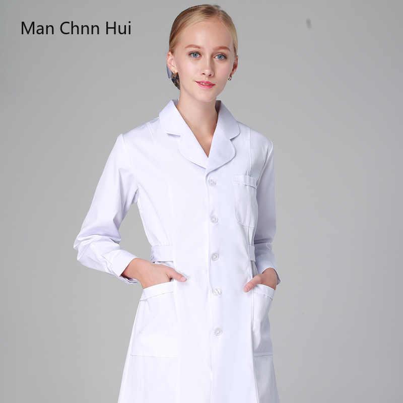 77a4db39fae60 Больницы Для женщин медицинская одежда скрабы медсестра равномерной  стоматологическая клиника доктора форма slim fit белый пальто