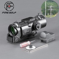 FIRE WOLF Luneta Para Rifle Scope Black Hunting Red Dot Sight With Laser 1 4 Illuminated Tactical Airsoft Ak 47 New Arrivals
