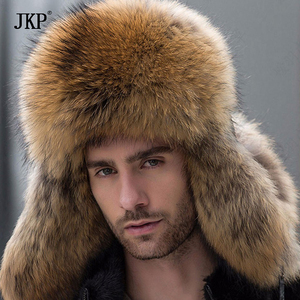 Image 3 - Russian leather bomber leather hat men winter hats with earmuffs trapper earflap cap man real raccoon fur black fox hatska