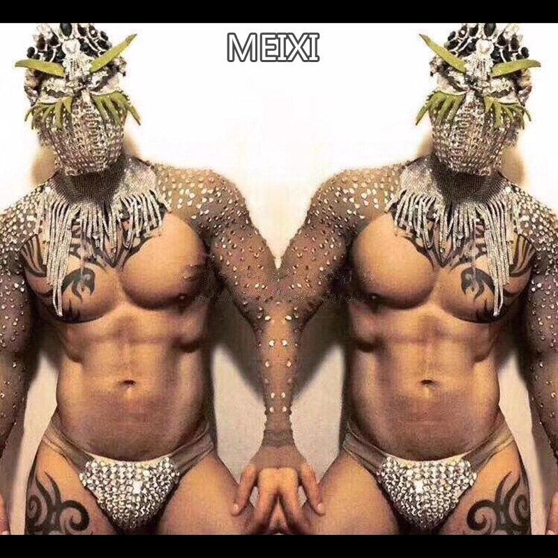 Shiny sexy man skin color rhinestone dress pants party nightclub bar concert DJ singer/dancer costume