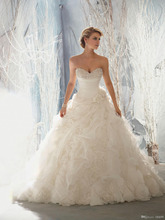 2014 New Arrival Strapless Ruffles Wedding Dress Beaded Pearls Bridal Gown White Organza Lace up Handmade Flowers