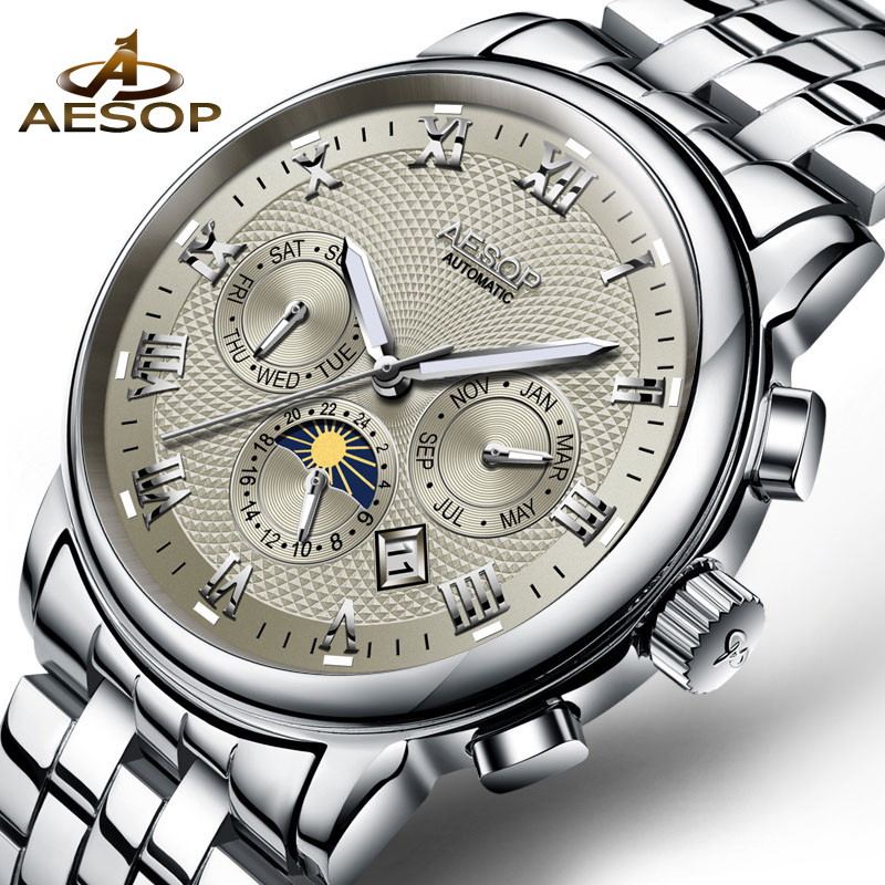 AESOP Men Watch Brand Automatic Mechanical Men Wrist Wristwatch Stainless Steel Calendar Male Clock Relogio Masculino Hodinky 27 fashion top brand watch men automatic mechanical wristwatch stainless steel waterproof luminous male clock relogio masculino 46