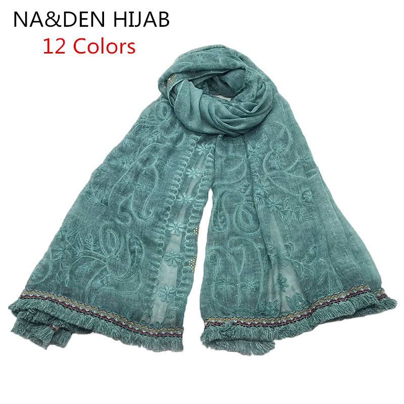 2019 NEW embroidery scarf vintage lace Tassel edges pattern fashion hijab embroider women scarves shawls brand