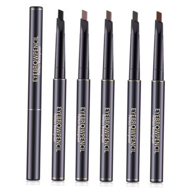 5 Color Double Ended <font><b>Eyebrow</b></font> Pencil Waterproof Long Lasting Rotatable Triangle Eye Brow <font><b>Tatoo</b></font> <font><b>Pen</b></font> <font><b>Eyebrow</b></font> Brush With Pencil image