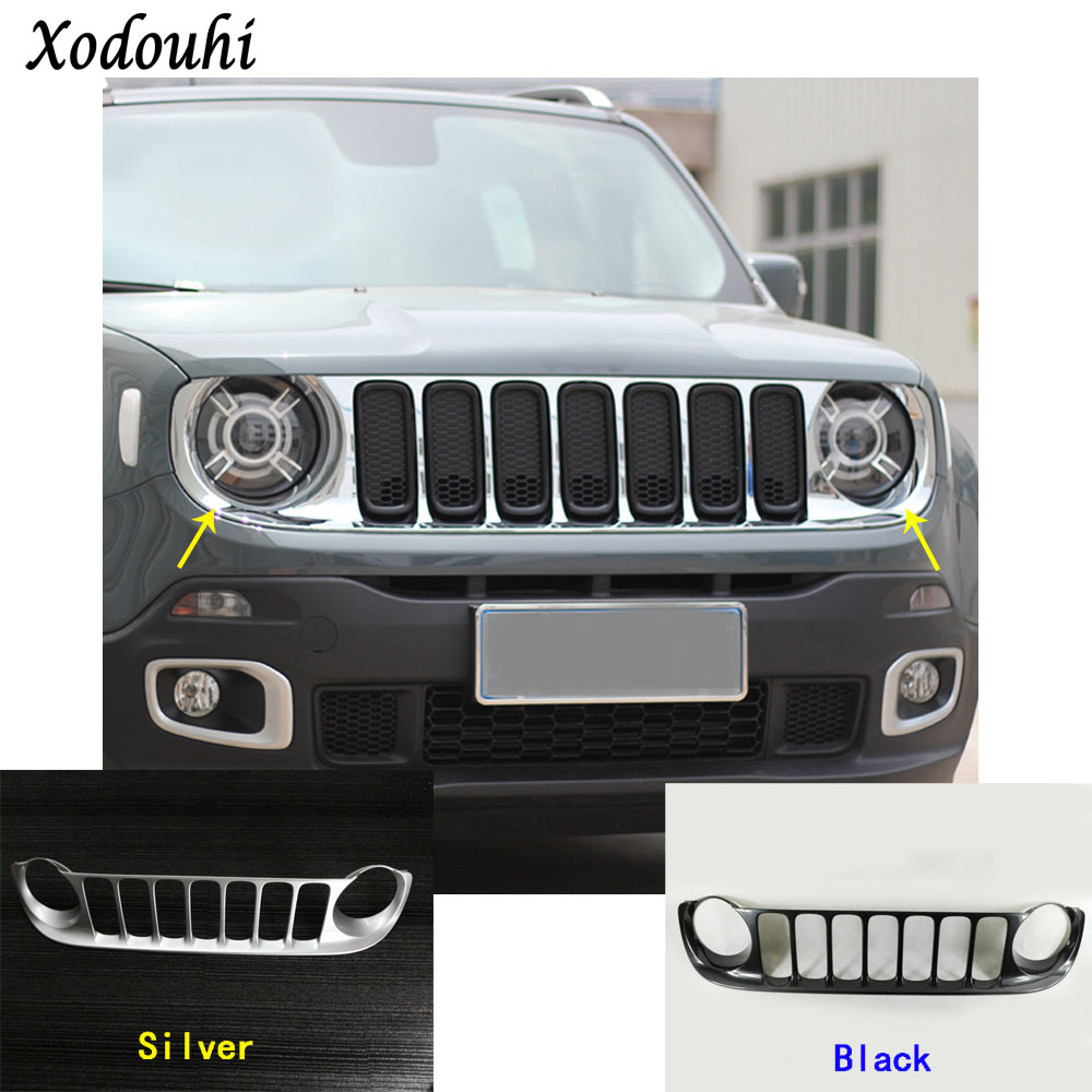 For Jeep Renegade 2016 2017 2018 car body styling cover protect detector trim Front up Grid Grill Grille molding parts 1pcs