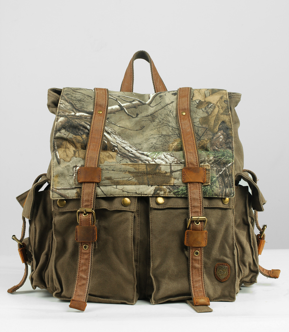New Men Canvas Backpack Travel Shoulder Bag Men Outdoors Military Camouflage Riding Mountaineering  Multi-function Men Bags