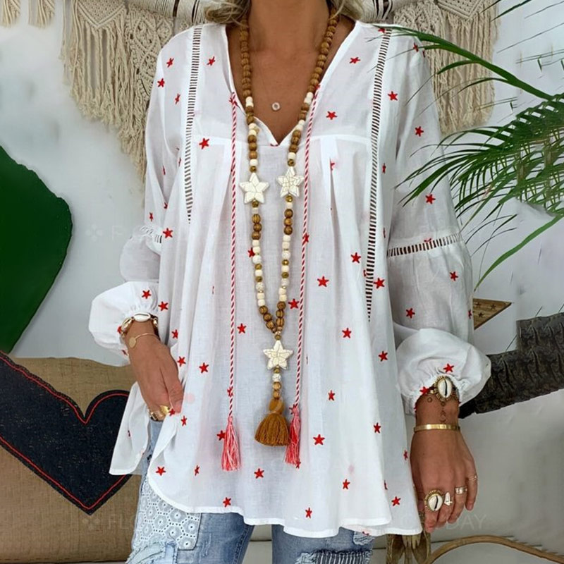 White Elegant Lantern Long Sleeve Womens Blouse Plus Size 4XL Boho Printed Clothes Woman 2020 Spring Sexy Women Tops And Blouses