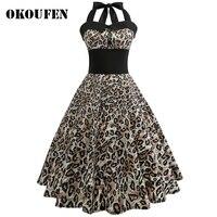 OKOUFEN Sexy Leopard Gedrukt Vrouwen Kleding Vestidos Lente Herfst Retro Casual Party Gewaad 50 s 60 s Vintage Jurken