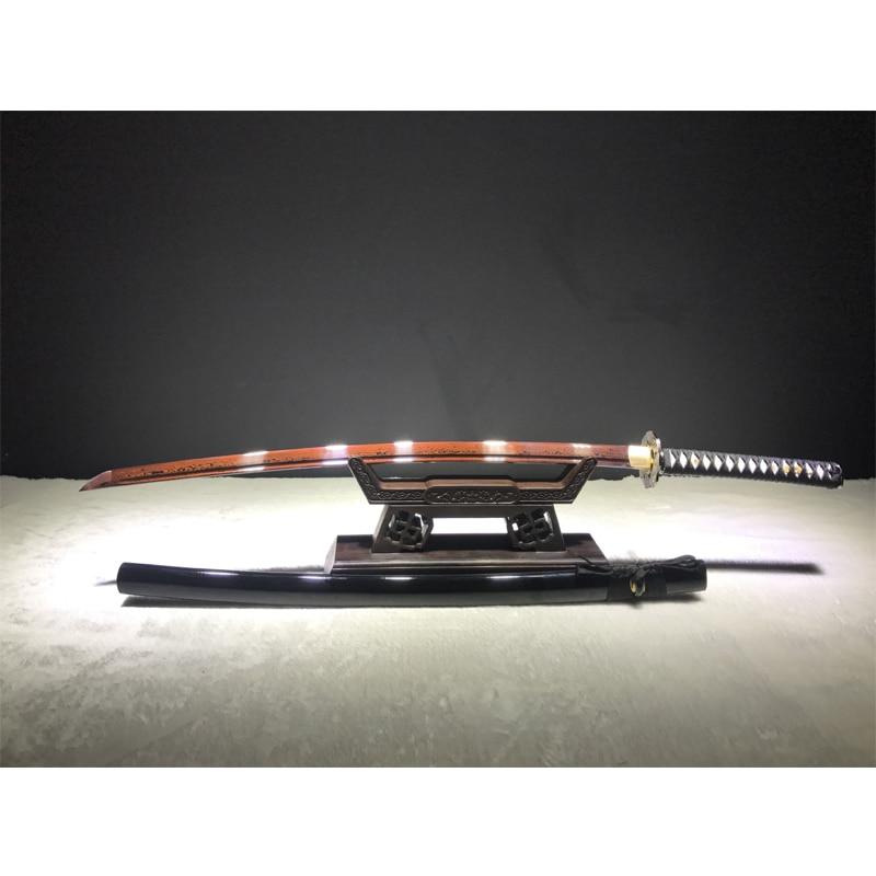 Japanese warrior knife Katana 102cm checkered iron Black wood sheath superior quality sword not sharp