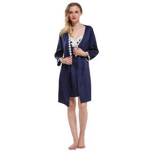 Image 3 - Fiklyc merk volledige mouw sexy vrouwen robe & gown sets kant bloemen satijn vrouwen pyjama sets nachthemd + badjas homewear hot