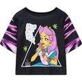 2016 para mujer de manga corta blusa entallada princesa punk recortada tee tops señoras de la mujer HARAJUKU t-shirt estilo de la calle camiseta negro T camisa