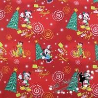 110 50cm 1pc100 Cotton Fabric Christmas Mickey Printed DIY Tissue Patchwork Telas Felt Sewing Ladies Dress
