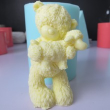 Silicone mold for soap 3d bear with sheep silicone fondant mould chocolate mousse cake molds candle aroma stone