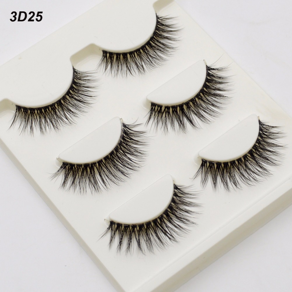 3 Pairs /set 3D False Eyelashes Messy Cross Thick Natural Long Fake Eyelashes Makeup Bigeye Long False Eyelashes Black Lash 3D25