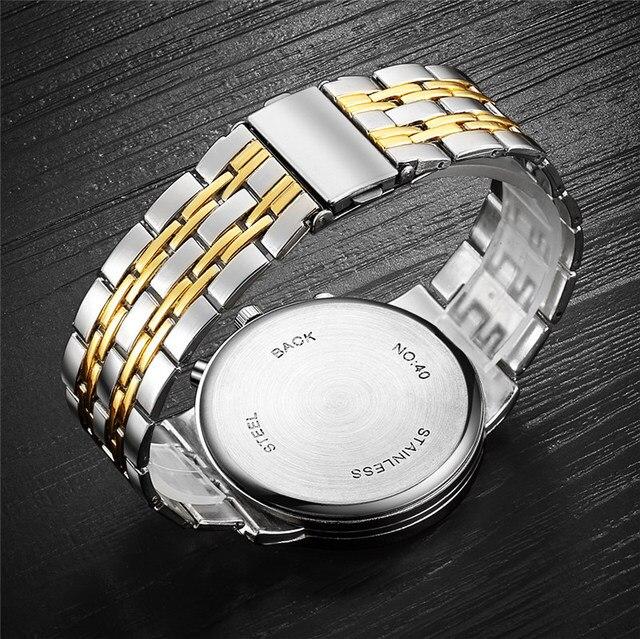 ORLANDO Fashion Quartz Men's Silver Gold Plated Stainless Steel Wristwatch  5