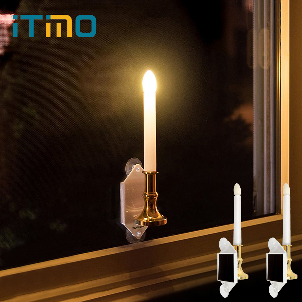 iTimo 1 Pair LED Solar Candle Light with Panel Suckers Home Decoration Lighting on Window Warm White Light Sensor Simulation