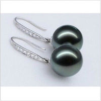 Hot Sale Free Shipping Beautiful A Pair AAA 10mm Tahitian SHELL Black Pearl Earrings