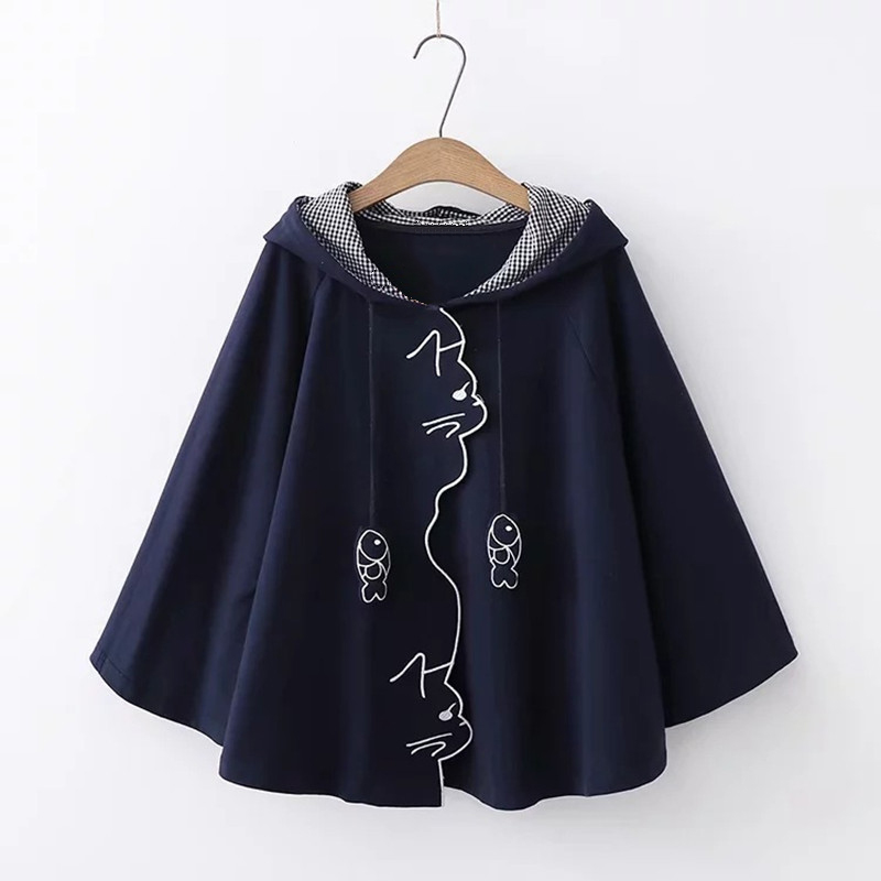 Women Japanese Style Mori Girl Cute Hooded Cloak Coat Cartoon Fish Embroidered Cat Ear Loose Kawaii Hoodies Cape Outerwear