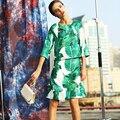 Vintage Fashion Twinset  2017 Autumn Casual Half Sleeve Banana Leaf Top + Sequined Knee-Length Luxury Beading Dress Women