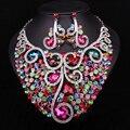 Новый свадебный комплект ювелирных изделий свадебные ювелирные наборы Индийские ювелирные изделия заявление ожерелье серьги для невесты и невесты аксессуары