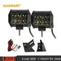"""Auxmart fichas cree 4 """"30 W ponto do feixe LED de Condução Farol + 2 pcs suportes suportes conjunto LEVOU Barra de Luz para Jeep Wrangler JK 2007 ~ 2015"""