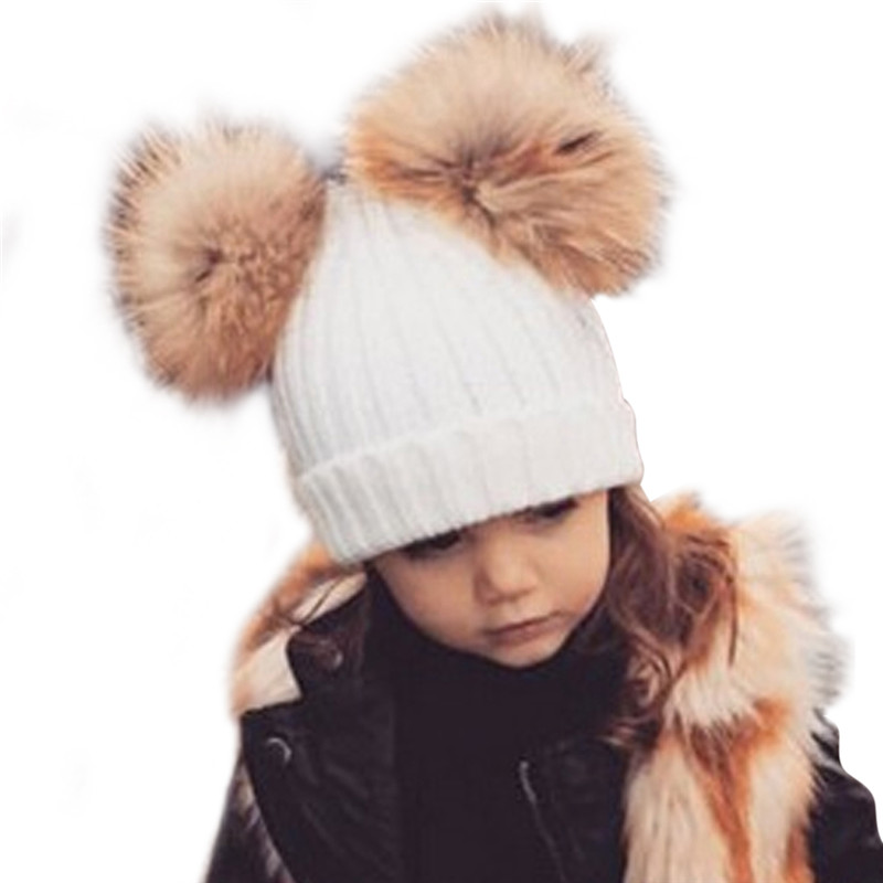 2018 Kids Wool Knitted Warm Winter Caps Beanies Baby Boys Girls Pom Pom Hat Chidren Dual Raccon Fur Ball Hat Bonnet Enfant