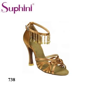 Latin Dance Shoes Suphini Ankle Open Toe Tassel Dance Shoes High Heel Salsa Shoes Lady Pendant Party Dance Shoe