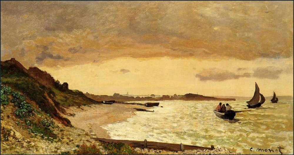 High quality Oil painting Canvas Reproductions The Coast at Sainte-Adresse (1864) By Claude Monet hand painted