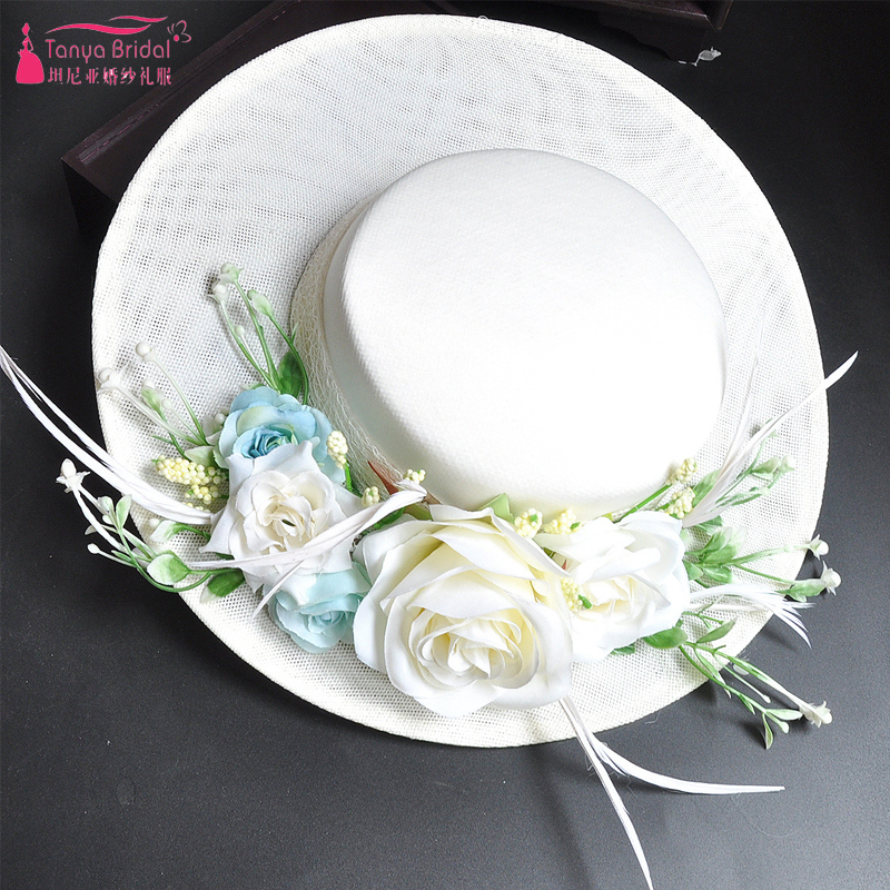 Handmade Bridal Hats Elegance Mint Green Flower Feather Vintage Hats Wedding Accessories Women Headwear ZH021