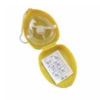 60pcs/Pack CPR Resuscitator Rescue Masks Mouth To Mouth With One way Valve For First Aid Training Oxygen Inlet In Yellow Box