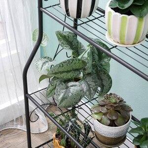 Image 5 - 3 ชั้นเหล็กกลางแจ้งสวนชั้นวางชั้นวางของประกอบง่ายที่ถอดออกได้ห้องนอนดอกไม้หม้อเหล็ก Rack สำหรับระเบียง