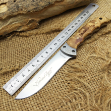 Fine BROWNING Hunting Fixed Knives,7Cr17Mov Blade Burl Wood Handle Tactical Survival Knife.