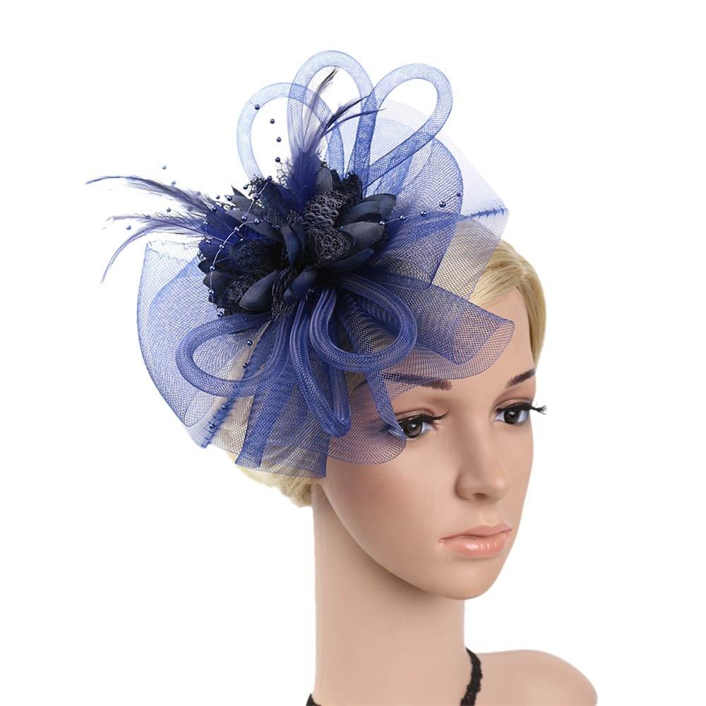 Bride Feather Fascinator Hairpins Women Mesh Veil Hair Hoop Hair Ornaments Hat Headpiece Cocktail Wedding Party PJ0725 headpiece