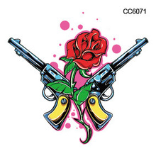 Mini Body Art Waterproof Temporary Tattoos For Men Women Pistol Design Flash Tattoo Sticker CC6071