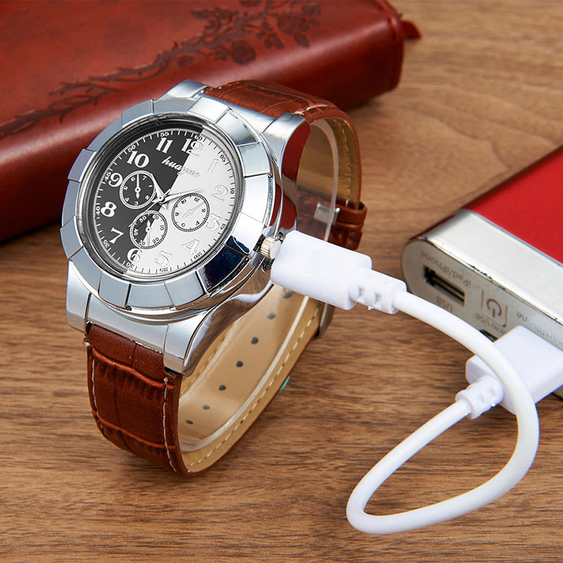 Fashion Rechargeable USB Lighter Watches men Electronic Men's Casual Quartz Wristwatches Windproof Flameless Cigarette Lighter lighter watch men s sports casual quartz watches with leather strap windproof flameless cigarette lighter usb charging f665