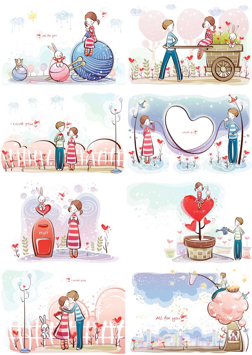 Comic And Anime Postcard Birthday Greeting Cards 8 Pcsset