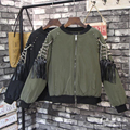 Fashion bomber jacket women Winter Rivet Tassels Long Sleeved Loose Thick Coats punk style women basic coats jackets jaqueta