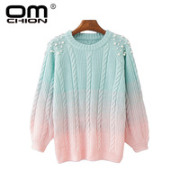 OMCHION Pull Femme 2018 Winter O Neck Gradient Pearl Beading Sweater Women Casual Korean Sweet Pullover Knit Thick Jumper LMM183