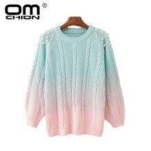 OMCHION Pull Femme 2018 invierno cuello redondo gradiente perla cuentas suéter  mujer Casual coreano dulce jersey tejido grueso L.. 2c349f879f2e