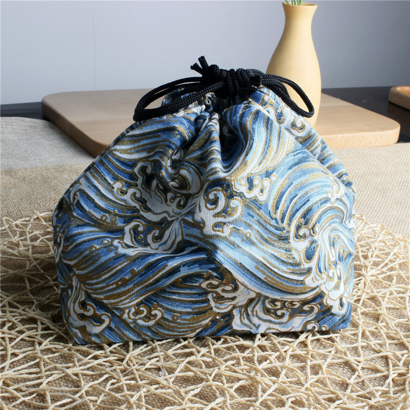 PACGOTH 2017 New Fashion Japan Style Leisure Bag Blue Wave Pattern Canvas Warm Keep Lunch Bags Thickening Students Strawstring