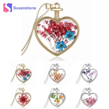 2017 Charming DIY Heart Shape Glass Flower Floating Memory Living Pendant Necklace Women Accessories #519