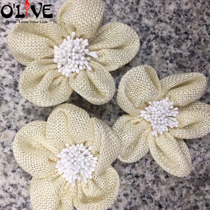 7 CM Jute Flowers Stamen Rustic Wedding Burlap Vintage Wedding Decoration Christmas Apparel Shoes Hats Aceessories Home Decor