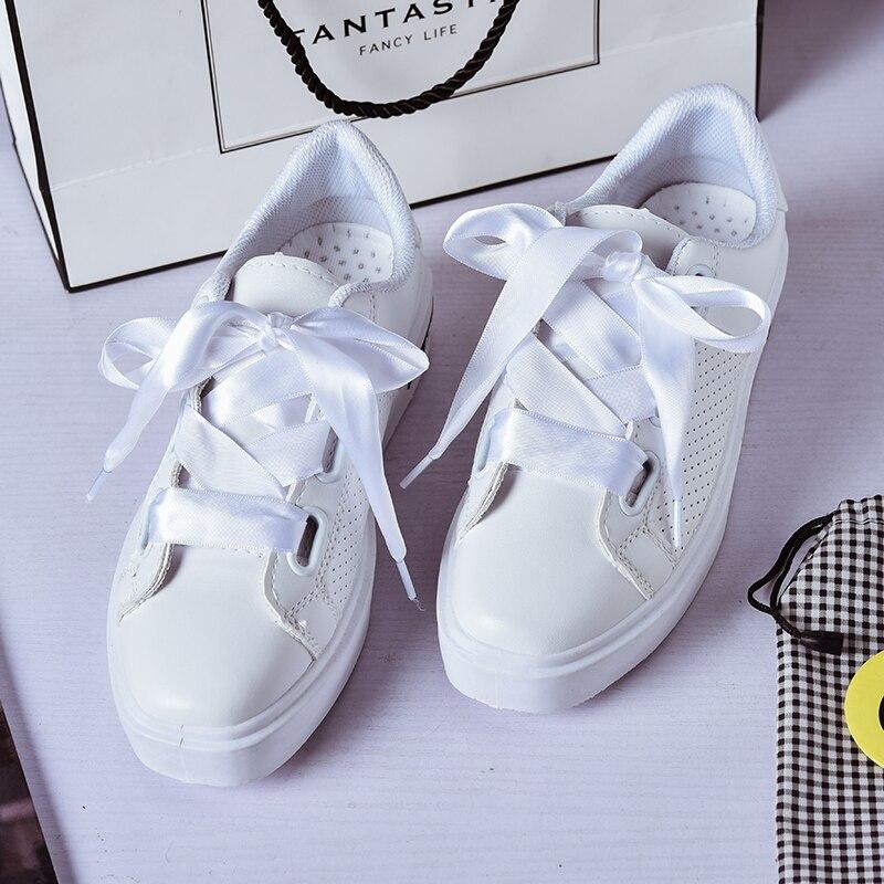 Prix pour Seachart Femmes de bowknot Couture Motif Sport Skate Sneaker En Cuir PU Sport 2 paire de lacet Highten 5 cm arc mignon